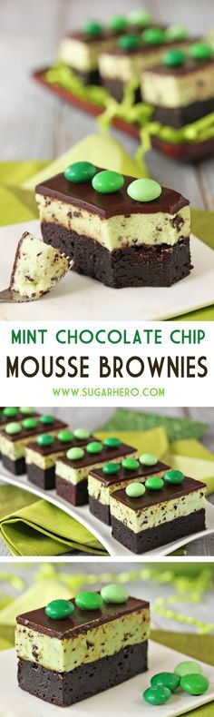 Mint Chocolate Chip Mousse Brownies - fudgy brownies, topped with light and fluffy mint chip mousse, and finished with shiny chocolate ganache. From SugarHero.com