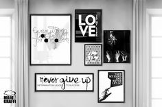 typopgraphy prints, poster walls, black and white decoration, home wall ideas