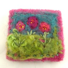 Felted and Embellished Textile Brooch, Wool, Needle Felted, Pink, Wearable Art, Textile Pin, Embellished, Embroidered