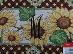 Monogram..Sunflower Placemats...5 by ADoorableCreations05 on Etsy, $14.99