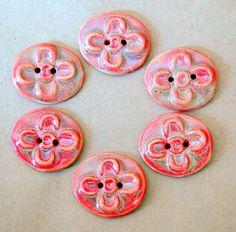 6 Handmade Ceramic Buttons  Small Golden Rose Folk by beadfreaky, $12.75