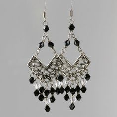 Black long dangling Chandelier earrings Bridesmaids gifts Free US Shipping handmade Anni Designs