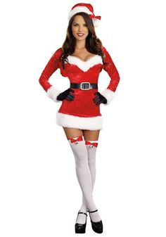 Sexy Santa Baby Costume (I like that this one is fitted spaghetti strap dress with a matching shrug, so if i get hot i can remove the shrug)