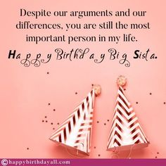 Nicest birthday wishes, messages, quotes, poems and greetings for your sister. Wish her happy birthday and tell her how special she is. Happy Birthday Sweet Sister, Best Happy Birthday Message, Birthday Messages For Sister, Message For Sister, Birthday Poems, Sister Birthday Quotes, Best Birthday Wishes, Sweet Sister Quotes, Wishes Messages
