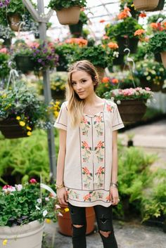Embroidered Tie Tunic- Taupe | | THE ROSE NEST