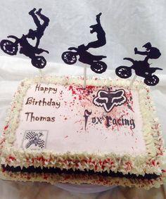 Fox Dirt Bike Racing Cake - Handmade chocolate Biker decorations and edible images