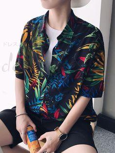 ハワイ風ボタニカル柄メンズ半袖ビーチシャツ 12900258 - メンズシャツ - Doresuwe.Com