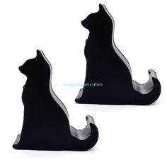 2Pcs Universal Black Cat Phone Holder Desk Stand For Iphone Samsung Smartphone