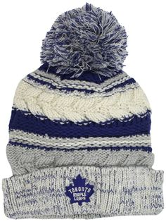 buy online 0647c f0103 NHL Toronto Maple Leafs Women s CCM Cuffed Knit Hat With Pom, One Size,Blue