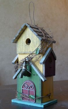 birdhouse painted teal colored
