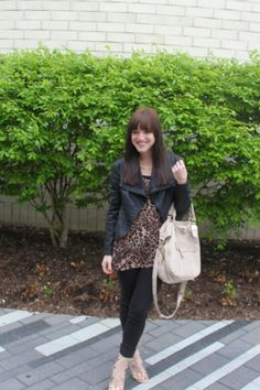 leopard top with black leather jacket