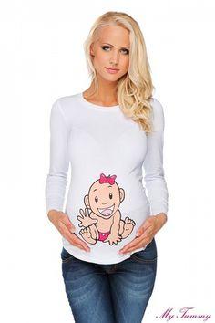 """Těhotenské tričko """"Holčička"""" bílé - My Tummy - Luxusní, elegantní a praktické oblečení pro těhotné a kojící ženy"""