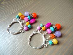 Boho Hippie Gypsy Hoop Earrings, Colorful Chandelier Earrings by BijouxFan on Etsy.