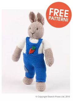 Free knitting pattern for Garden Bunny Rabbit by Val Pierce (from Deramores - affiliate link) tba Knitted Bunnies, Knitted Teddy Bear, Knitted Animals, Knitted Dolls, Teddy Bear Knitting Pattern, Animal Knitting Patterns, Stuffed Animal Patterns, Free Knitting, Baby Knitting
