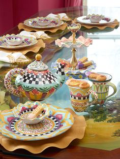 Time for tea! Mackenzie Childs Inspired, Mckenzie And Childs, Floral Chair, Cool Tables, Mad Hatter Tea, Painted Pots, China Patterns, Cozy Cottage, Hand Painted Ceramics