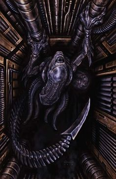 Alien promo piece I made for Century Fox Studios. I had fun with this one! Imo, the Alien design by H. Giger is one of the best creature designs of all time. Coming across one of these aliens in a narrow corridor hanging upside down would be. Alien Vs Predator, Predator Cosplay, Alien Film, Alien Art, Xenomorph, Arte Horror, Horror Art, Hr Giger Art, Aliens Colonial Marines