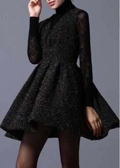 Chic Turtleneck Long Sleeve A Line Dress for Woman on sale only US$21.66 now, buy cheap Chic Turtleneck Long Sleeve A Line Dress for Woman at martofchina.com