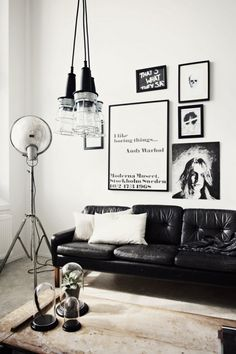 A black and white interior.