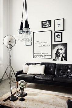 A black and white interior.
