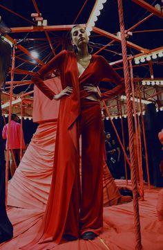 Models pose on a carousel at Marta Jakubowski.