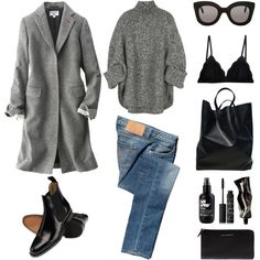 A fashion look from March 2016 featuring gray shirt, uniqlo coats and Calvin Klein Jeans. Browse and shop related looks. Casual Fall Outfits, Winter Outfits, Minimal Fashion, Mode Style, Winter Wardrobe, Fashion Outfits, Womens Fashion, Swagg, Capsule Wardrobe