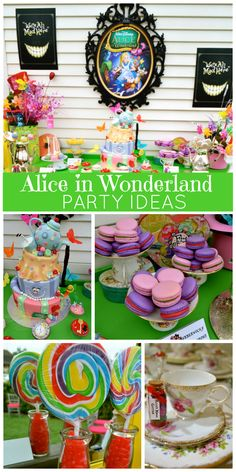 an incredible Alice in Wonderland girl birthday party with macarons, teacups and a stunning cake! See more party ideas at ! Alice Tea Party, Girls Tea Party, Tea Party Birthday, First Birthday Parties, Birthday Party Themes, First Birthdays, Girl Birthday, Birthday Ideas, Mad Tea Parties