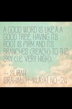 """A good word is like a good tree..."""