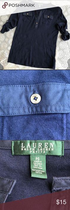 LRL navy blue top Excellent condition. Size SP Lauren Ralph Lauren Tops Tees - Long Sleeve