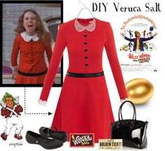 @Christina Coffey, thoughts? My Halloween Costume: Veruca Salt by exxpress ❤ liked on Polyvore