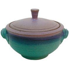 Maishe Dickman Hand Thrown Stoneware Turquoise Casserole, Artistic Artisan Pottery
