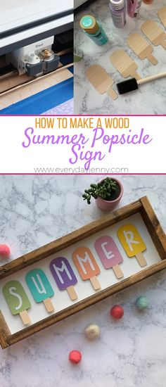 How to make a wood summer popsicle sign with your Cricut Maker and Cricut Knife ., How to make a wood summer popsicle sign with your Cricut Maker and Cricut Knife Blade. Summer Crafts, Diy And Crafts, Paper Crafts, Diy Summer Projects, Hacks Iphone, Diy Fleur Papier, Shilouette Cameo, Summer Signs, Cricut Tutorials