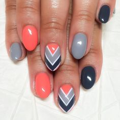 """""""#sofreshandsoclean nails for @miladiaz ✨Hard gel overlay fill with Mani-Q tangerine neon, grey 101 and purple 104 color combo with hand painted chevron…"""""""