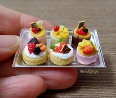 Dollhouse Miniature Pastry Set High Tea Cakes Tarts by BEADSPAGE