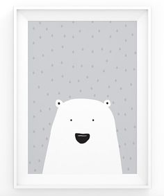 Polar Bear Print - Cute Nursery Art - Scandinavian Art - Childrens Art - Minimalistic Animal Print - Black - Grey - White - Instant Download