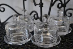 SOLD***Unique Clear Glass Apothecary Jar With Lid  by TsEclecticCorner, $20.00