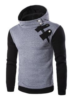5853a8a3734 Fashionable Inclined Zipper Color Block Hooded Long Sleeves Hoodie For Men