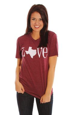 charlie southern: classic state love t shirt- Texas [maroon]