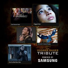 The time has come to vote for Week 3's categories in #TheHungerGamesTribute! Vote and YOU could be an honored guest at the Global Fan Appreciation Event in LA! Share your votes now at www.Tribute.TheHungerGames.Movie   Powered by Samsung