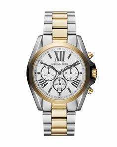 Michael Kors Two-Tone Stainless Steel Bradshaw Chronograph Watch.