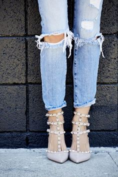 Valentino studded heels and ripped skinny jeans