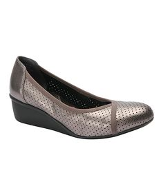 Pewter Evelyn Leather Wedge