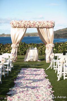 Luxurious wedding canopy at Ritz Carlton Kapalua bay Maui