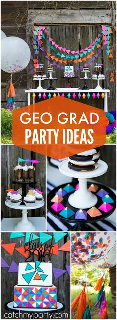 Love this grad party with bright geometric triangular shapes! See more party ideas at Catchmyparty.com!