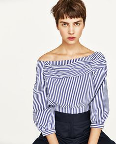 OFF-THE-SHOULDER STRIPED BLOUSE from Zara