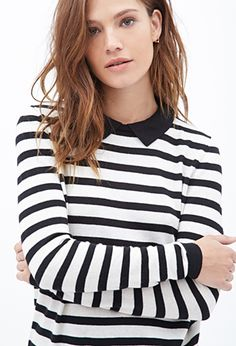 Collared Stripe Sweater | FOREVER21 - 2000138345