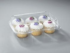Cupcake Container Made out of Plastic Holds 6 Cupcakes