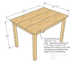 Plans for kids table and chairs