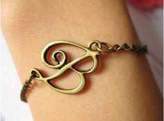 Personalized Bracelet DIY bracelet pearl jewelry Vintage Copper bronze adjustable size simple art of English B declaration of individuality. $2,99, via Etsy.