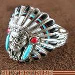 Chief Head ring with Turquoise and multicolor inlay.