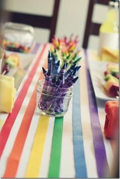 We are loving this crayon-themed rainbow birthday! How fun would this be in our party room? Transform white runner by adding ribbon in rainbow colors. (Could use runners from train party. Trolls Birthday Party, Troll Party, Art Birthday, 6th Birthday Parties, Birthday Ideas, Unicorn Birthday, Rainbow Unicorn Party, Rainbow Birthday Party, Rainbow Theme